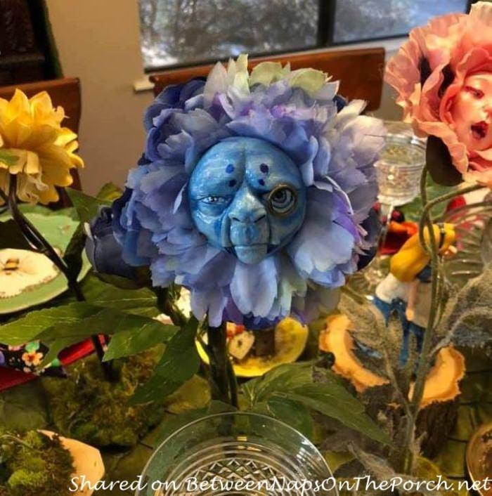 Alice in Wonderland Talking Flowers, Blue Caterpillar