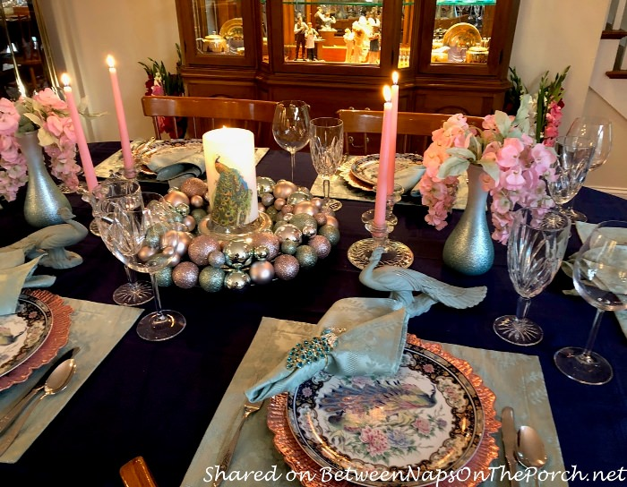 Beautiful Peacock Table Setting