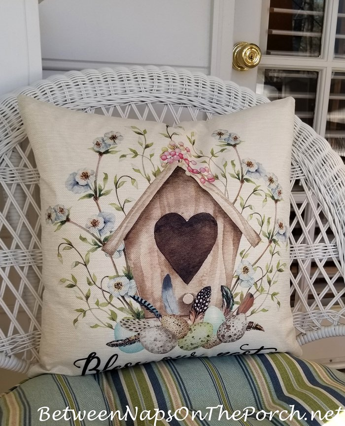 Bless this Nest Pillow for Spring