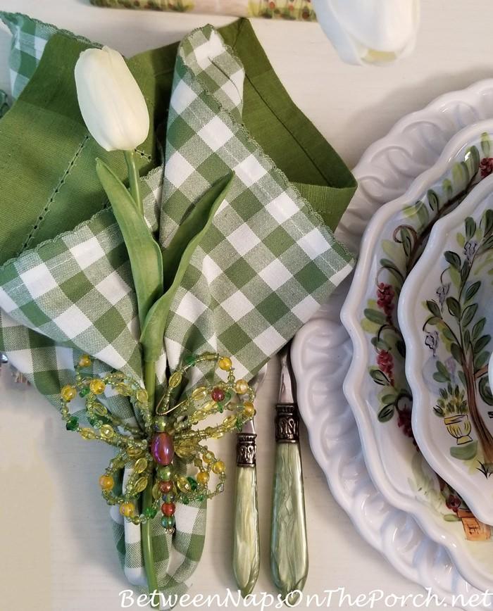 Butterfly Napkin Ring, Green, white check napkins