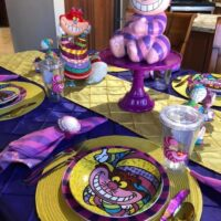 Cheshire Cat Plates for Alice in Wonderland Table Setting