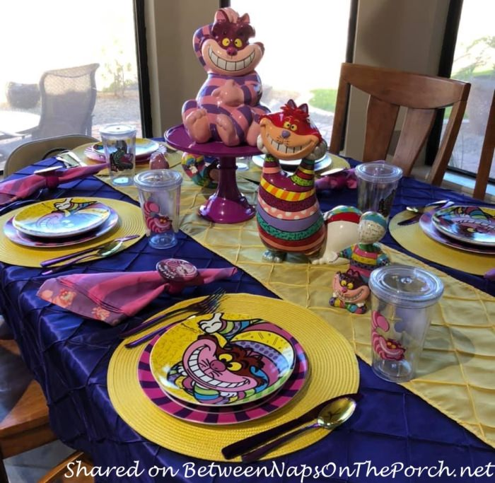 Cheshire Cat Tablescape, Alice in Wonderland Table