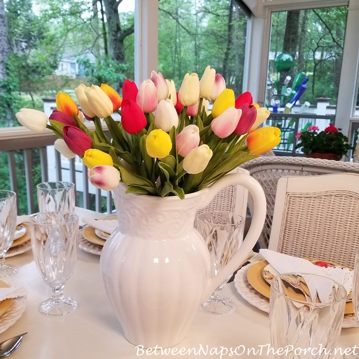 Colorful Tulips in White Pitcher