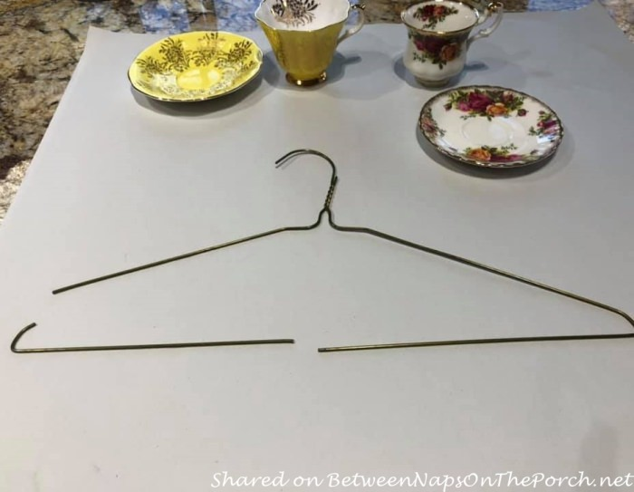 Cut Coat hanger for Wire for Making Floating Teacups