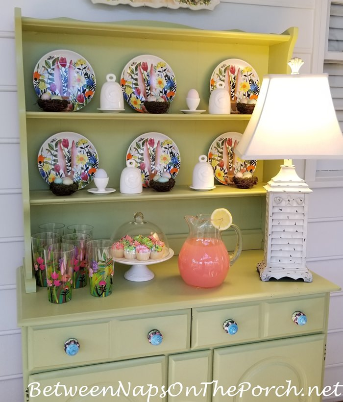 Decorate Hutch for Easter or Springtime