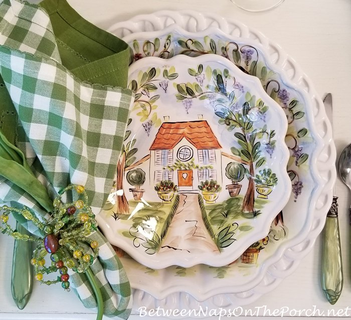 Green and White Check Napkin, Butterfly Napkin Rings