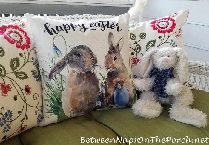 Happy Easter Pillow on Porch Swing