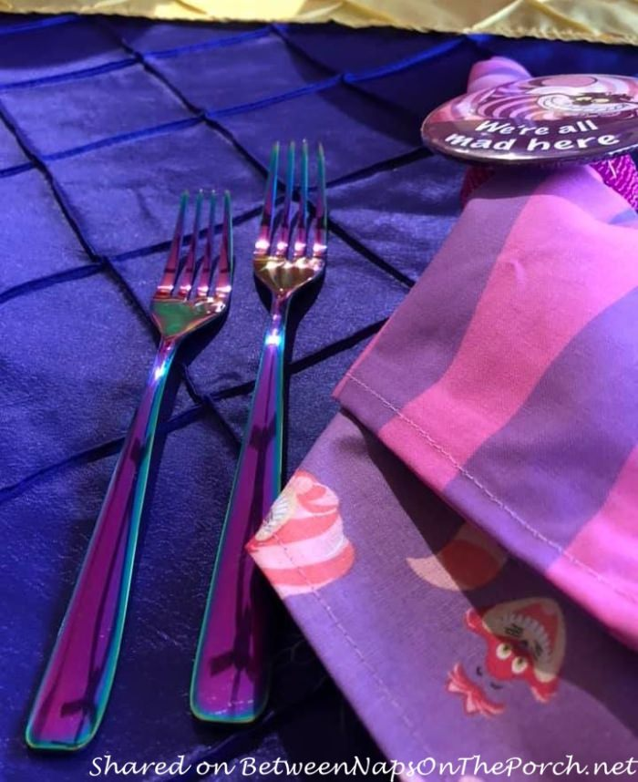 Iridescent Rainbow Flatware for Alice in Wonderland Table Setting