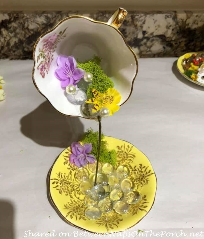 Make Floating Teacup, add moss flowers and pearls