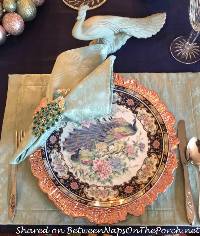 Peacock Dinner and Salad Plates, Handmade Peacock Ceramic
