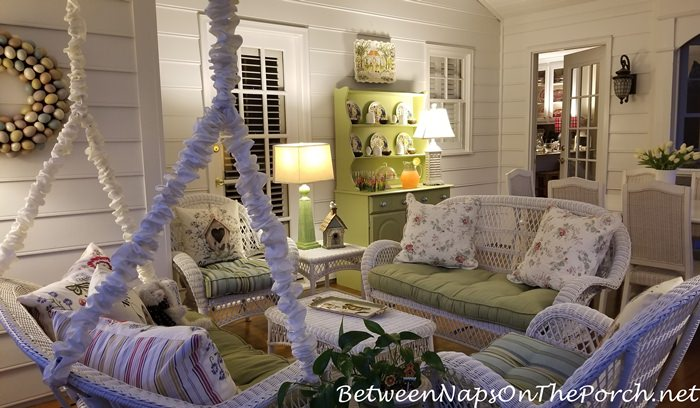 Screened Porch By Lamplight, Evening Porch