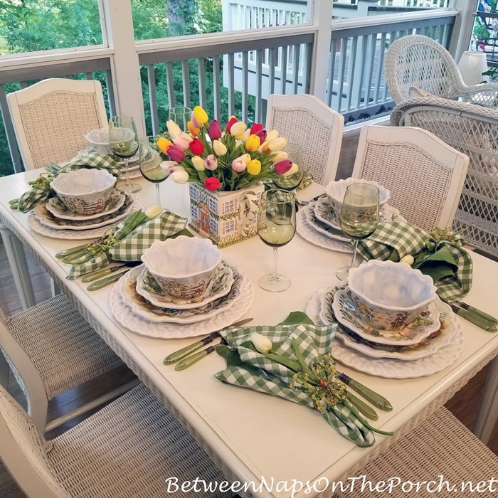 Screened Porch Dining, Spring Table