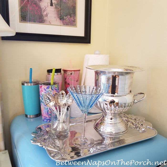 Silver Tray, Silver Champagne Bucket for Drink Station