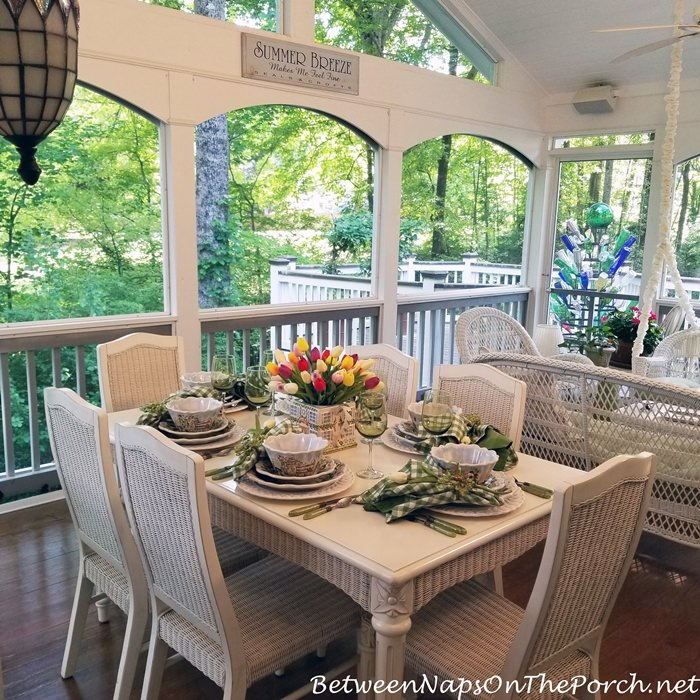Spring Dining on the Porch