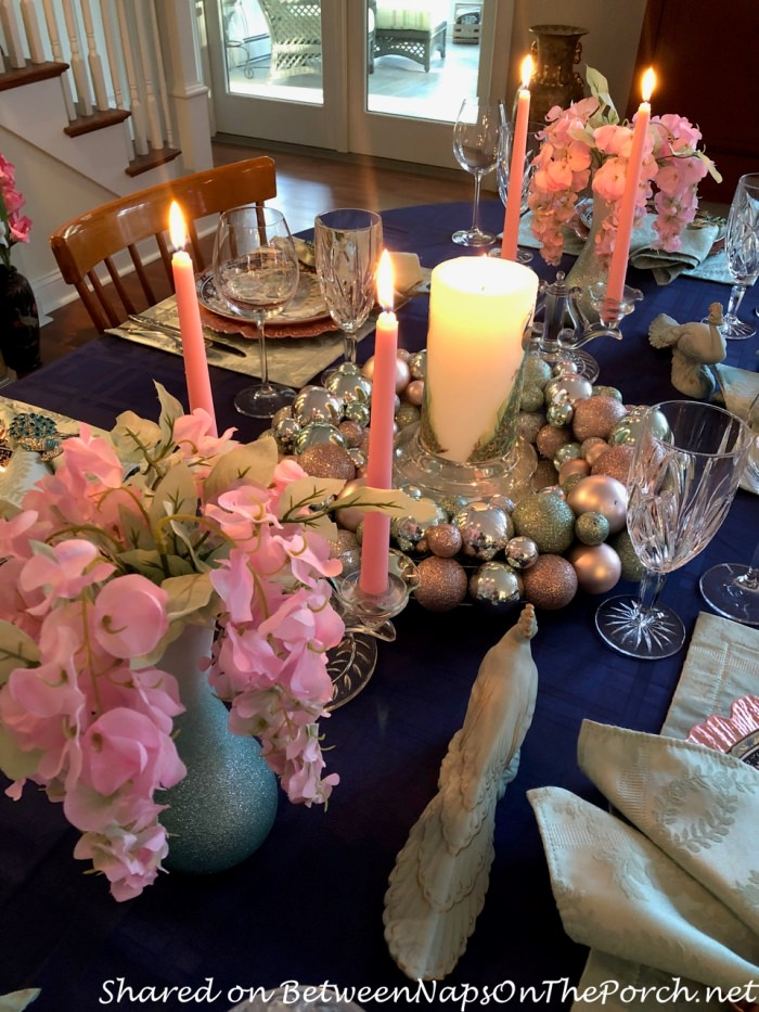 Spring Easter Table Setting, Peacock Themed