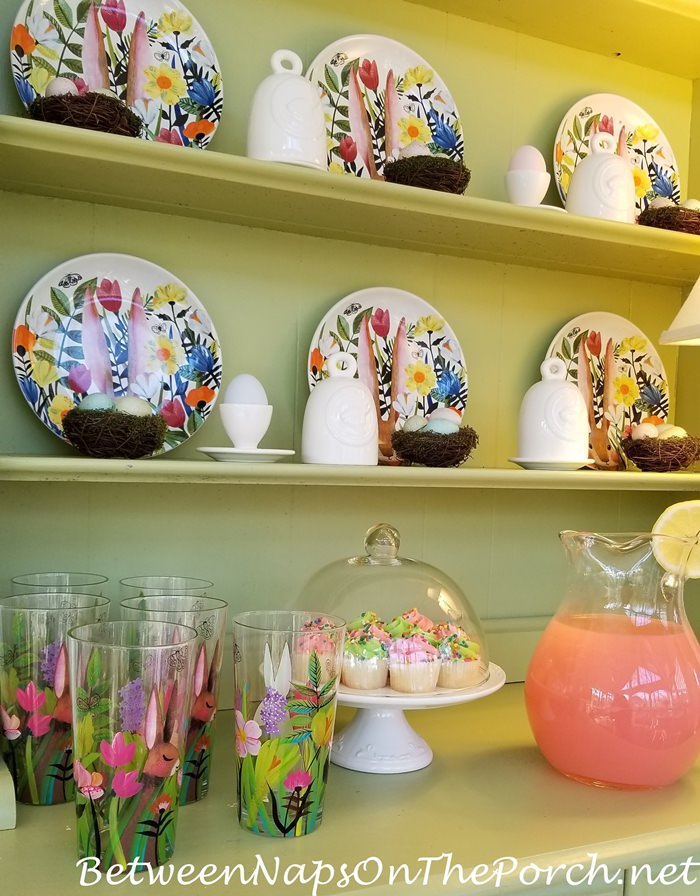 Spring Hutch, Eastertime, Bunny Plates, Bunny Glasses