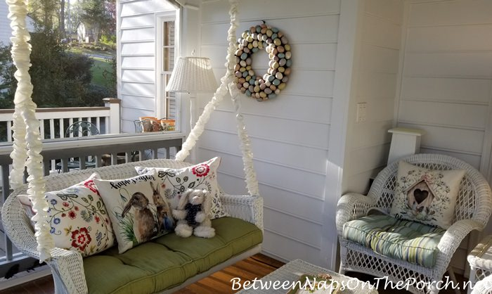 Spring Porch Decorated for Easter