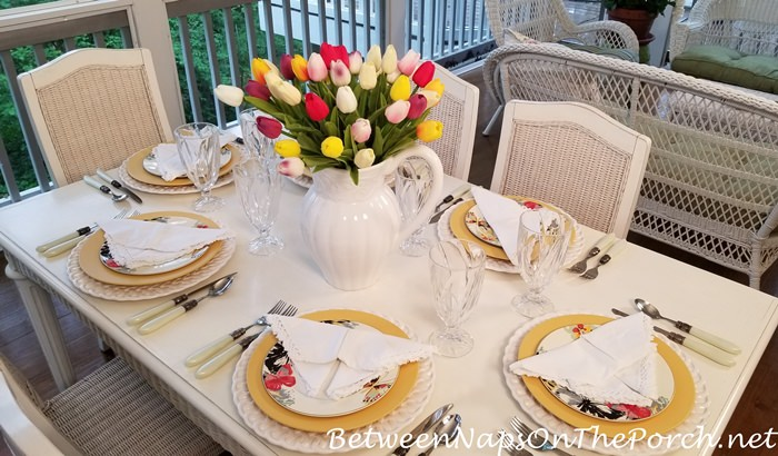 Spring Table Setting, Tulip Centerpiece, Butterfly Napkin Fold