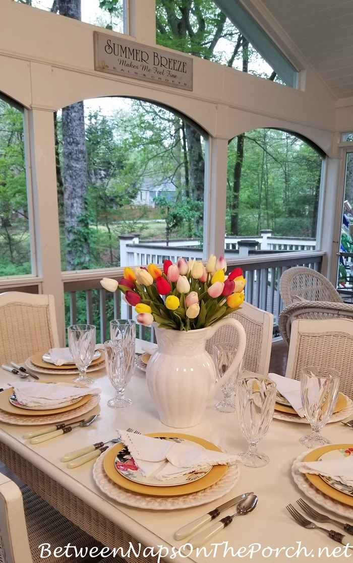 Spring Table on Screened Porch