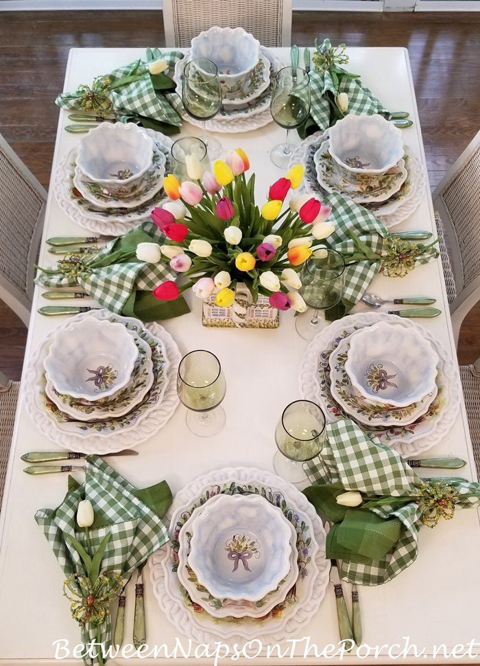 Spring Tablescape, Porch Dining, Ma Maison Dinnerware