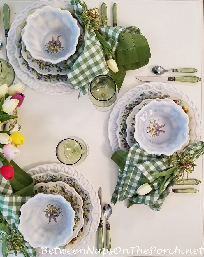 Spring Tablescape, Spring Dinnerware, Porch Dining