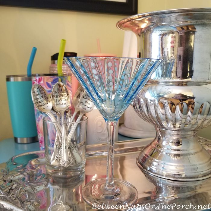 Stamped Silverplate Spoons, Blue Martini Glass