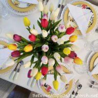 Tulip Centerpiece, Spring Tablescape
