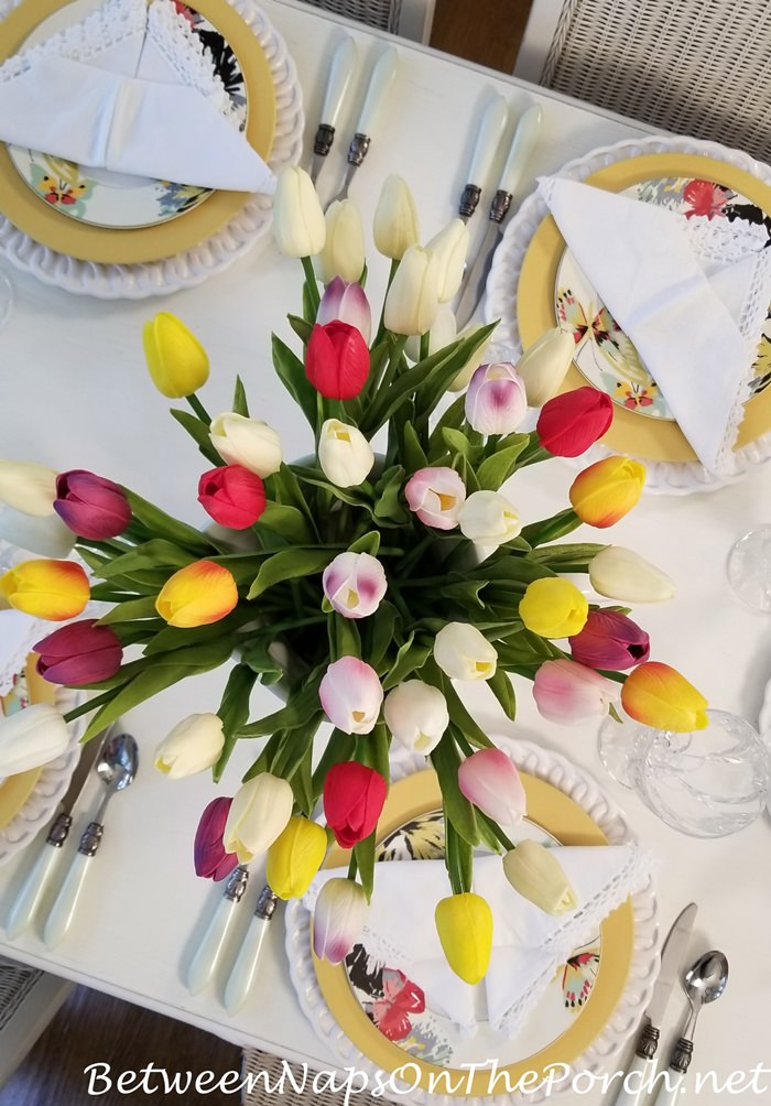 Tulip Centerpiece for Spring Table