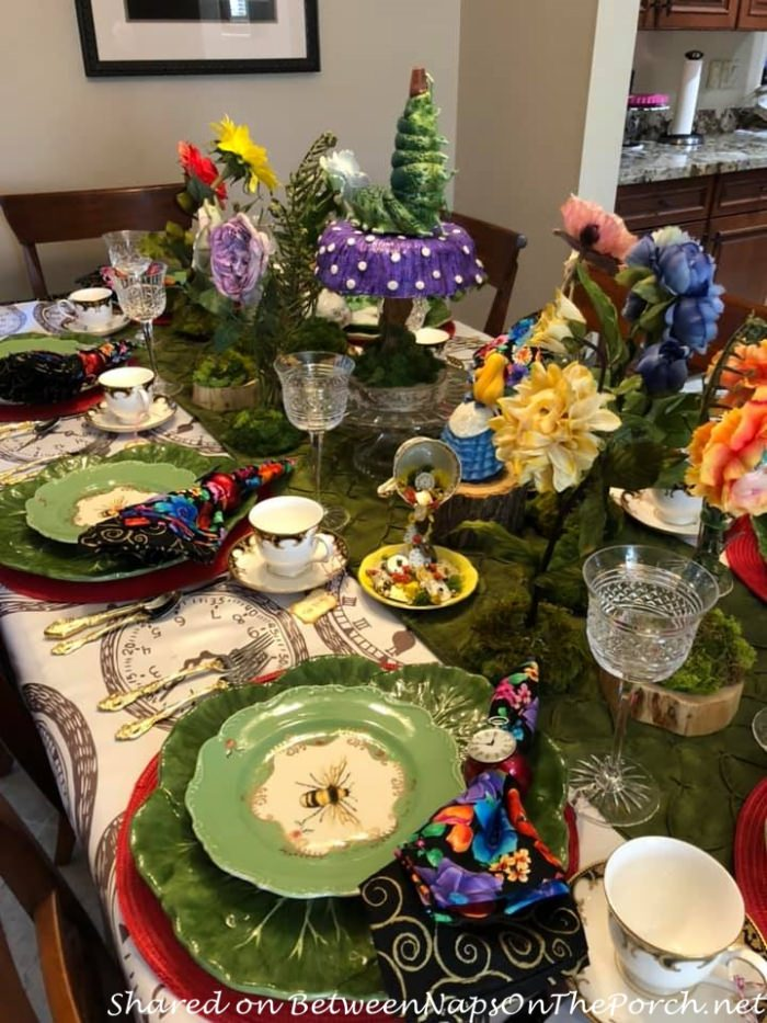Whimsical Alice in Wonderland Table with Talking Flowers