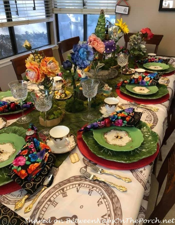 Whimsical Alice in Wonderland Tablescape with Talking Flowers