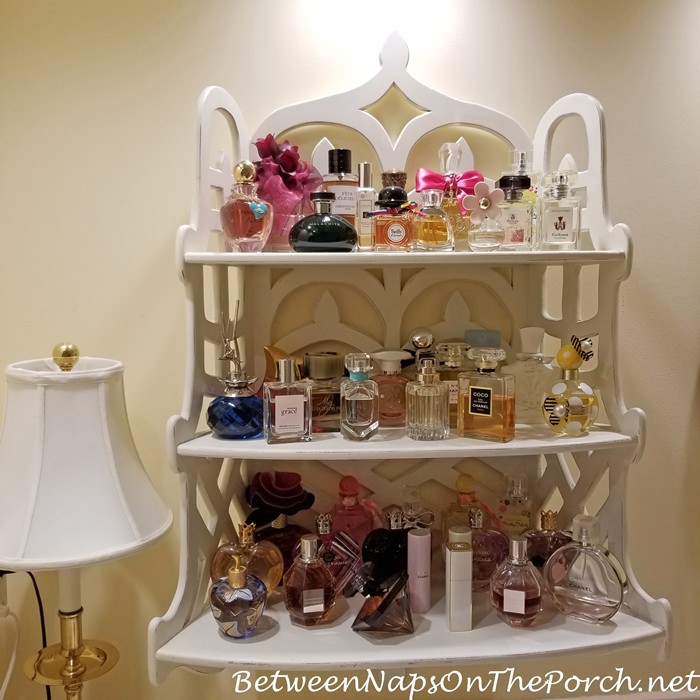 A Perfume Collection, Favorite Perfumes Displayed on Decorative Shelf