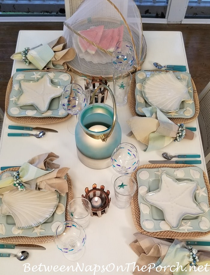Beachy Table with Shell and Starfish Plates