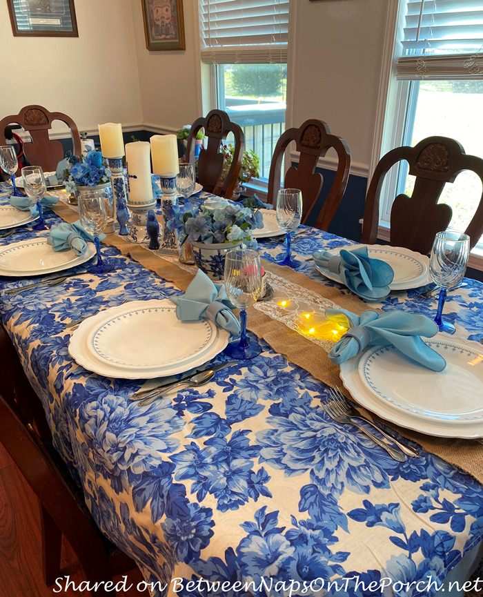 Blue and White Floral Pioneer Woman Tablecloth, Spring Table Setting