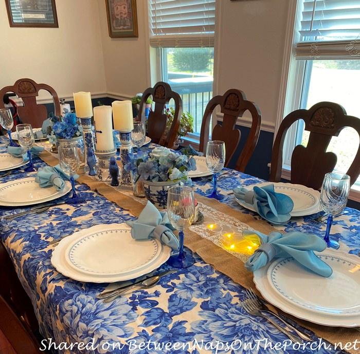 Cornflower Blue Corningware in Spring Table Setting