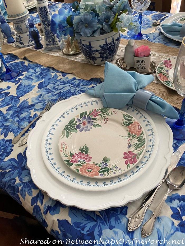 Corningware Cornflower in Blue and White Table Setting