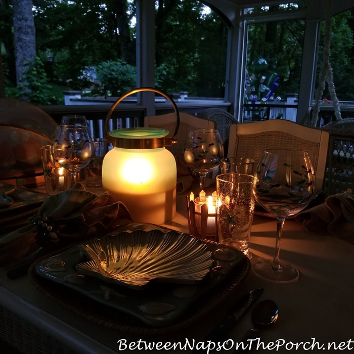Dining in the evening on the porch, Lantern Light
