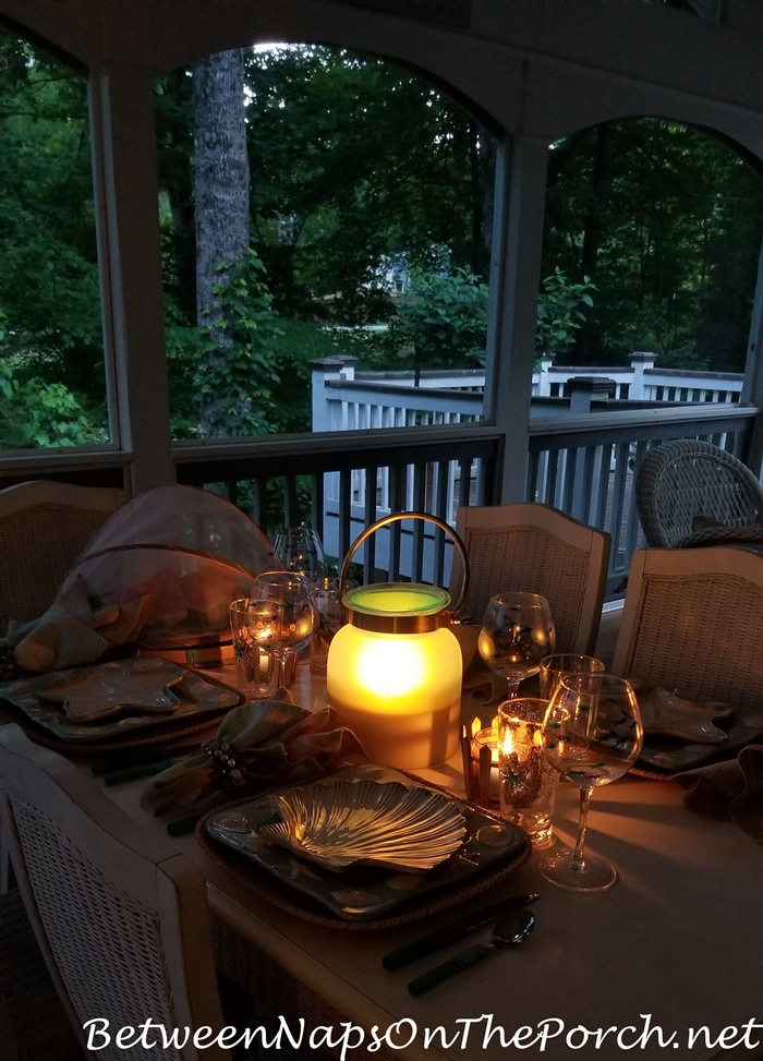 Evening dining on the porch