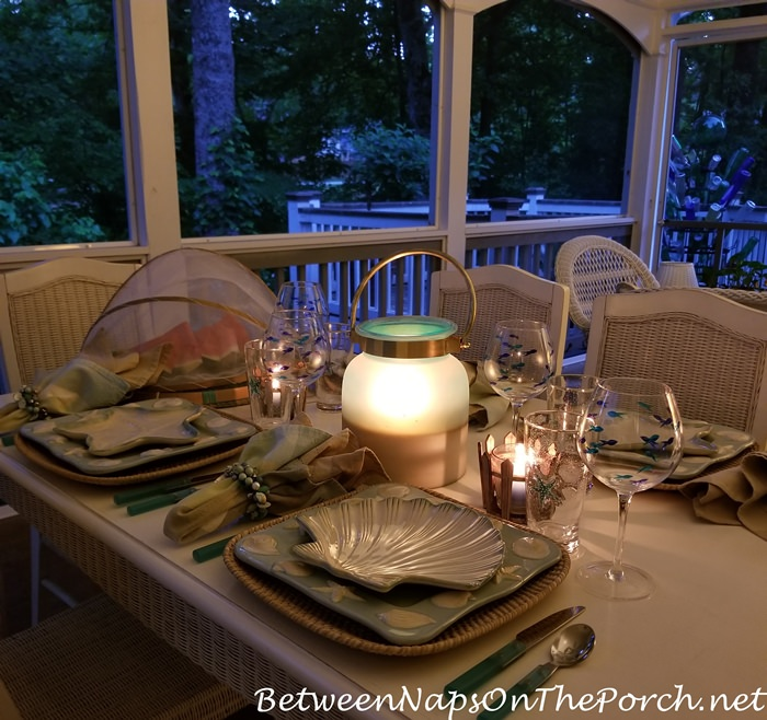 Lit Lantern for Porch Dining