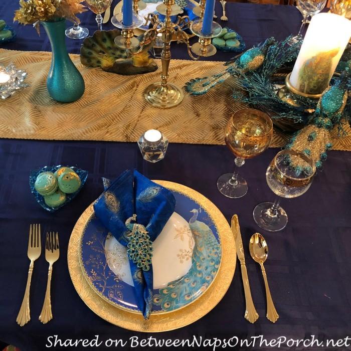 Peacock Table Setting with Peacock Macarons