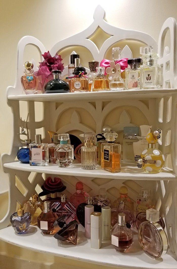 Pretty Perfume Display, Perfumes Displayed on 3-Tier Shelf