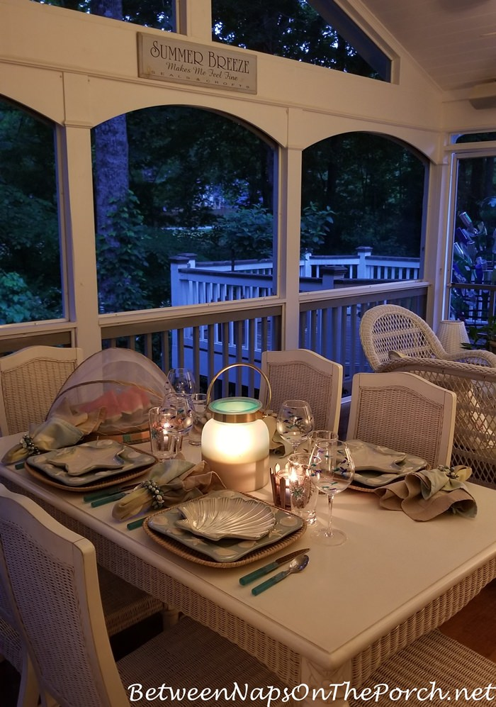 Screened Porch in the Evening, Dining by Lantern Light