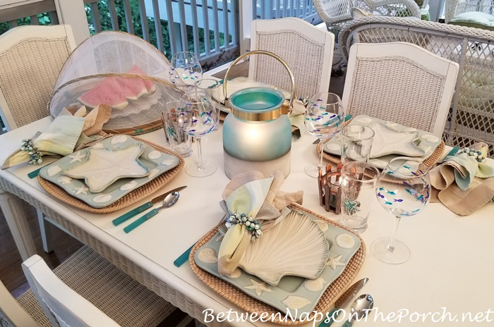 Summer Tablescape with Beach-Shell Dinnerware
