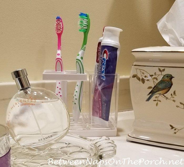 Toothbrush Holder Before, Birdie Themed Tissue Box