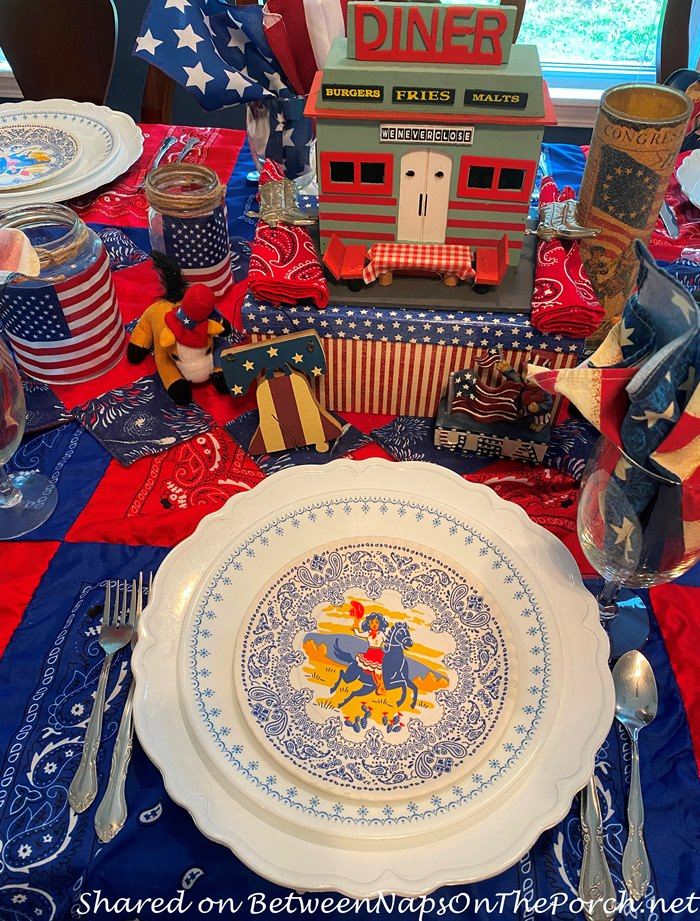 4th of July Tablescape, Patriotic Table Setting
