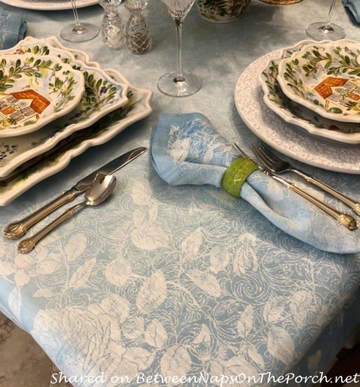 Beautiful Blue Jacquard Damask Tablecloth