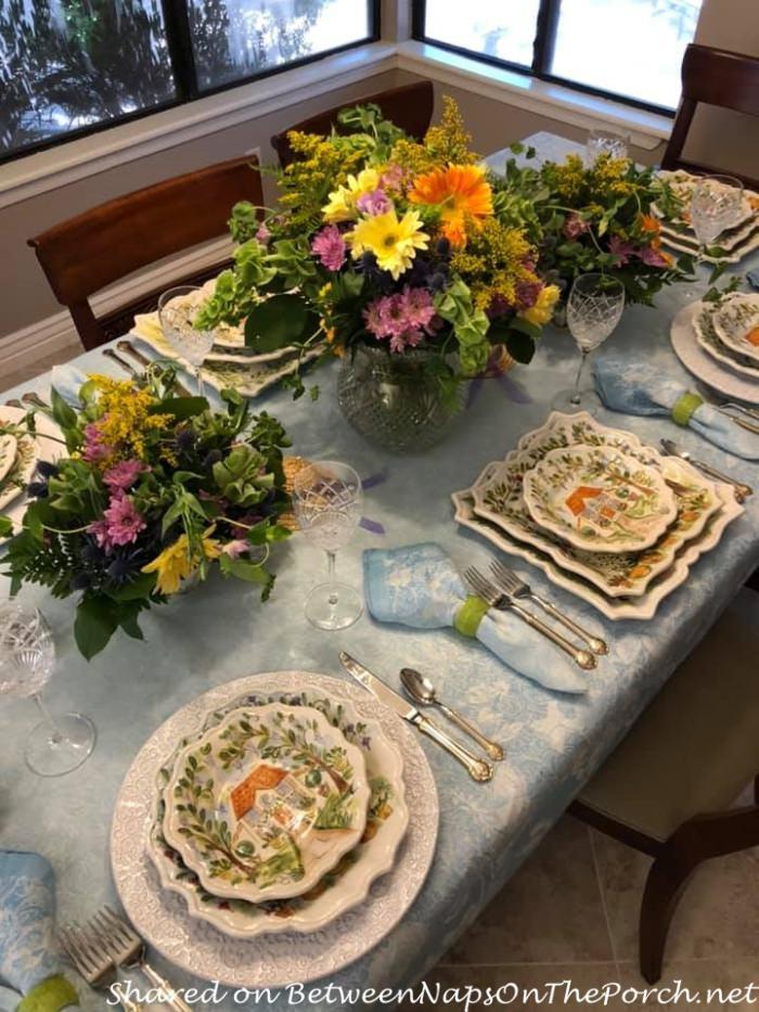 Blue Damask Tablecloth, Floral Centerpieces