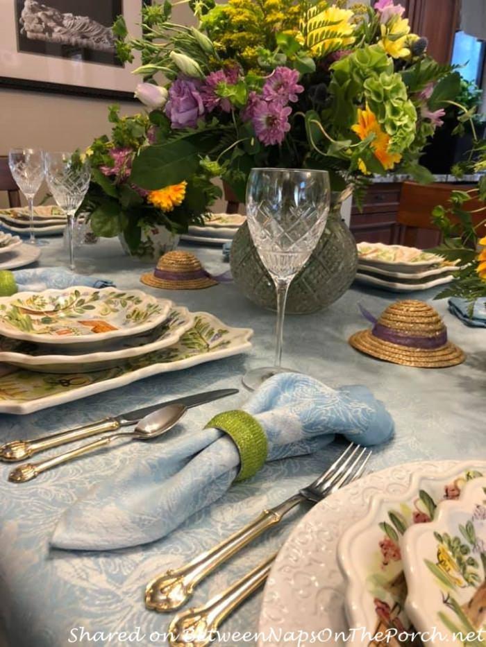 Blue Jacquard Damask Tablecloth