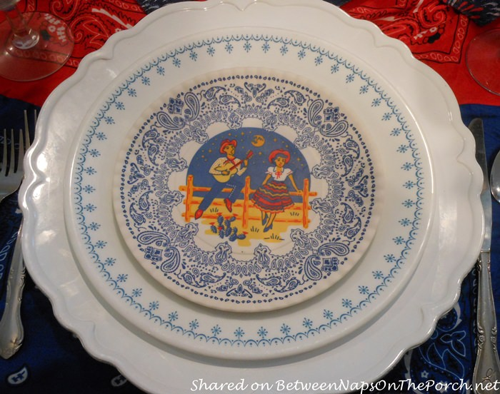 Cowboy, Cowgirl Salad Plates, 4th of July Table