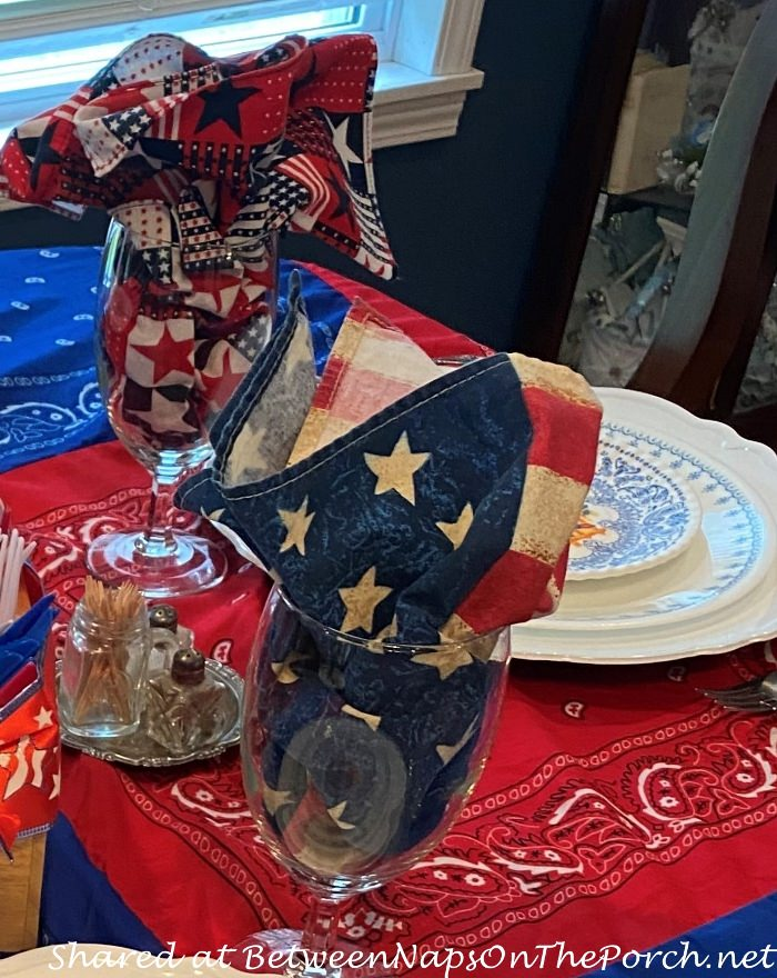 Flag Napkins for 4th of July Table