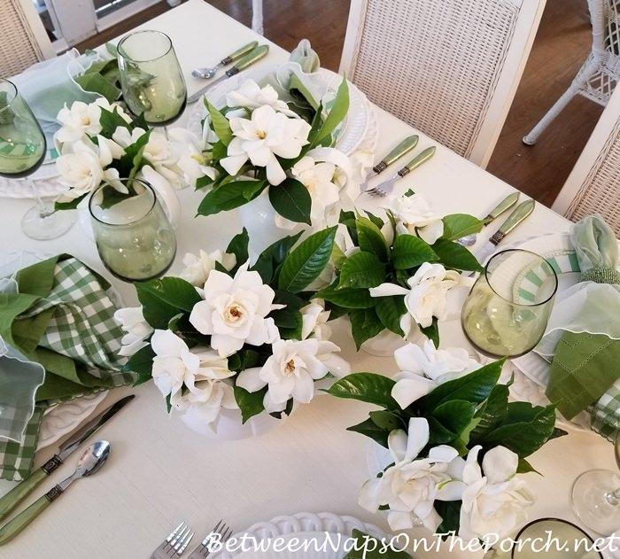 Fresh cut Gardenias in Spring Table Setting